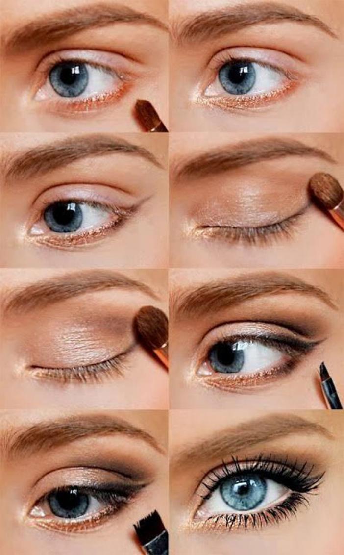 Пошаговое синий макияжа глаз